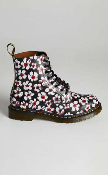 Dr. Martens - 1460 Pascal 8 Eye Boot in Black/Red Pansy Fayre Vintage Smooth