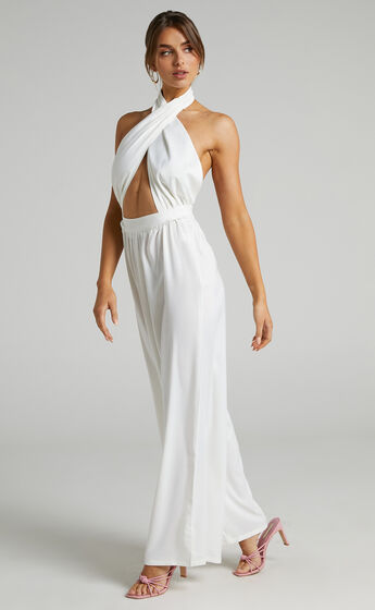 Good Life Jumpsuit in White Satin