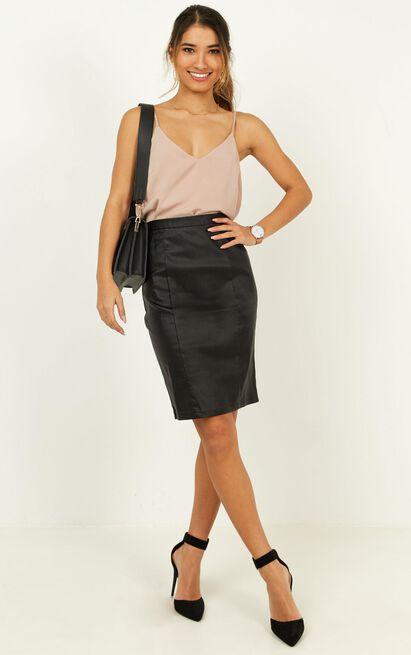 MIssing Merit Skirt in black leatherette - 20 (XXXXL), Black, hi-res image number null