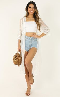 Too Cool To Love Kimono In White Lace