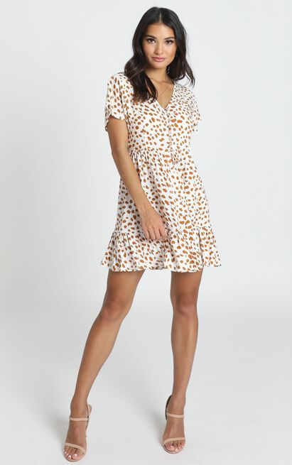 Mylo Dress in tan spot - 14 (XL), Tan, hi-res image number null