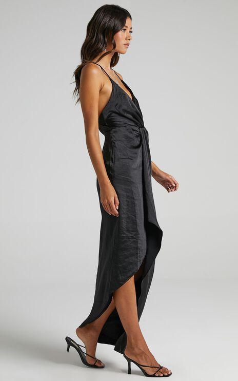 Jayne Twist Front Maxi Dress in Black Satin