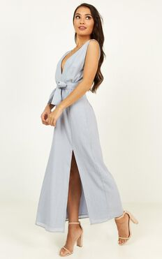 Everyday Here Dress In Dusty Blue Linen Look