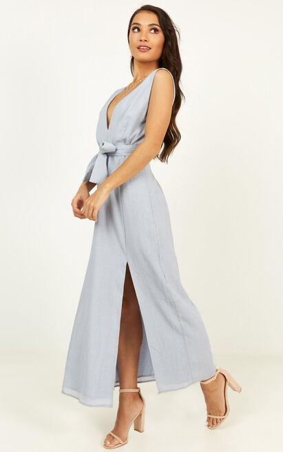Everyday Here Dress In dusty blue linen look - 20 (XXXXL), Blue, hi-res image number null