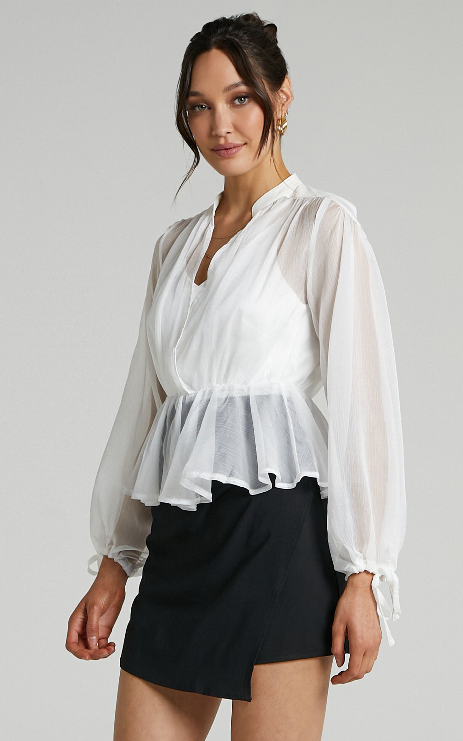 Kimmy Longsleeve Sheer Blouse in White - 06, WHT1, super-hi-res image number null