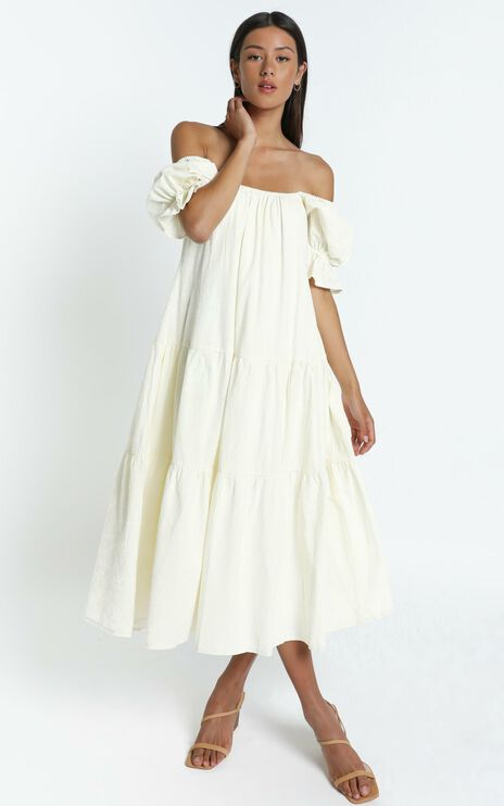 Zaharrah Dress in Cream Linen Look