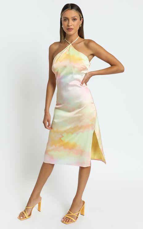 Danna Midi dress in Yellow Tie Dye