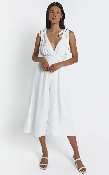 Jaden Jumpsuit in White Palm