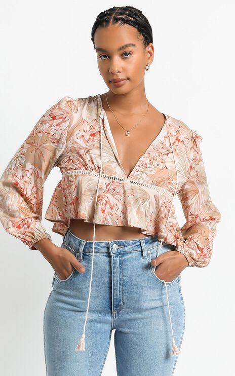 Gretchen Top in Palm Print