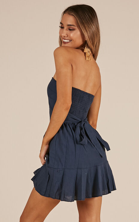 Calm Waves Dress In Navy Linen Look