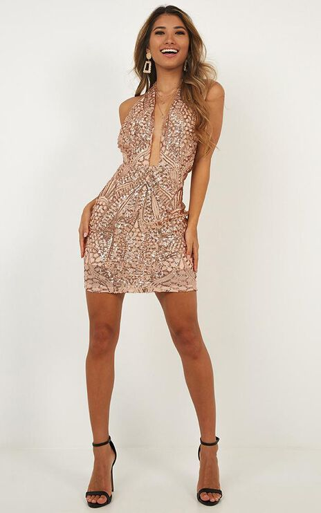 Static Feels Dress In Rose Gold Sequin