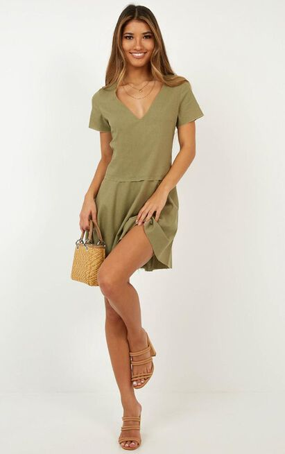 Get in Order Dress in khaki linen look - 14 (XL), Khaki, hi-res image number null