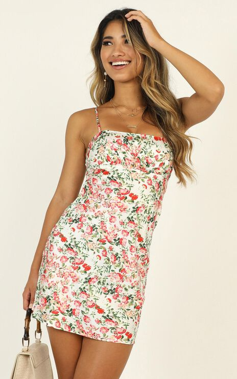 Bold Moves Satin Dress In Multi Floral