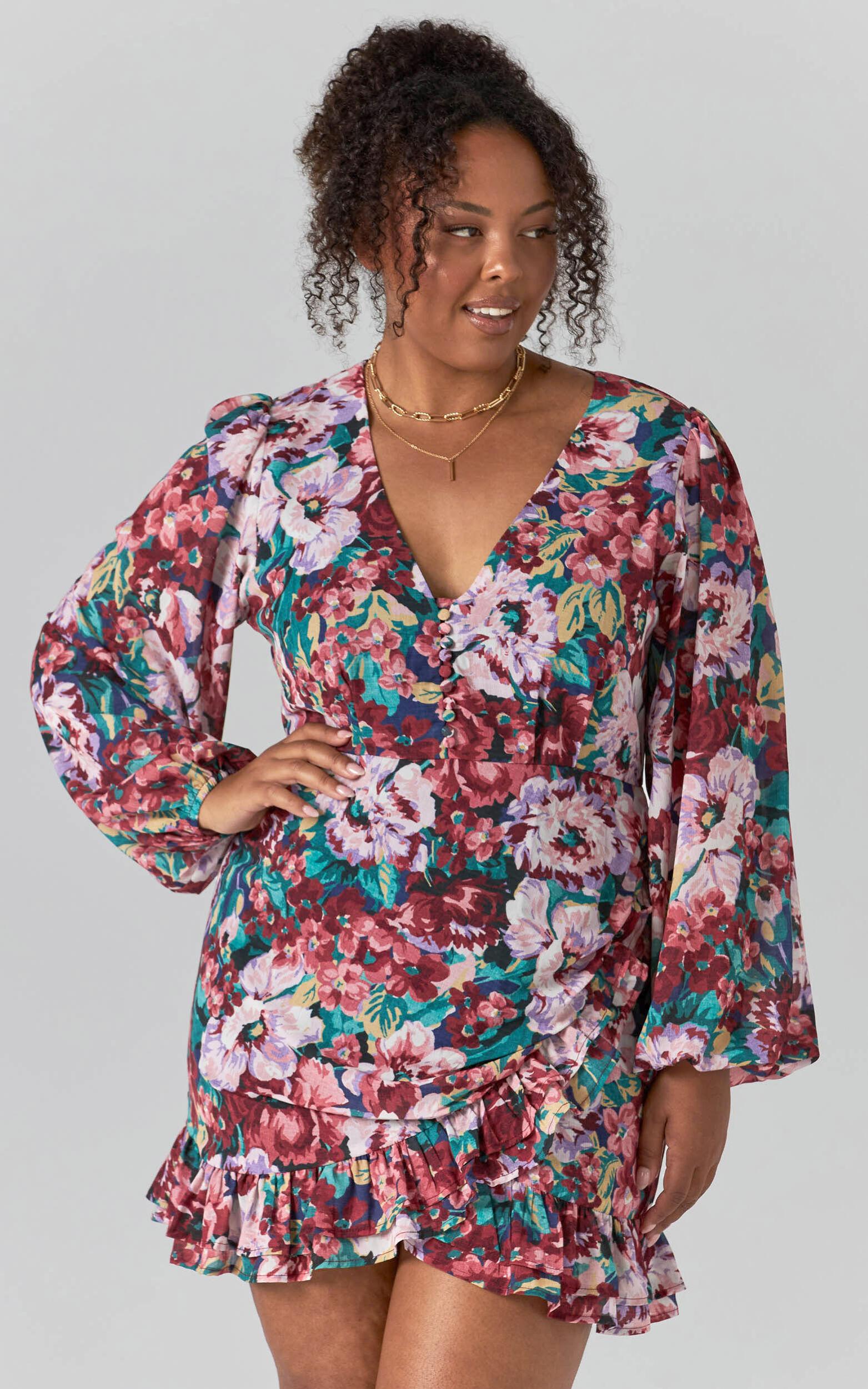 Andire Long Sleeve Frilled Hem Wrap Dress in Amorous Floral - 04, PNK1, super-hi-res image number null