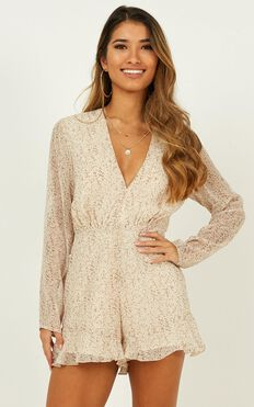 Over The Road Playsuit In Cream Floral
