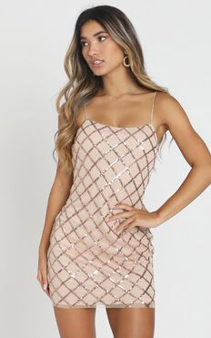 Rhythm Of Love Dress In Rose Gold Sequin