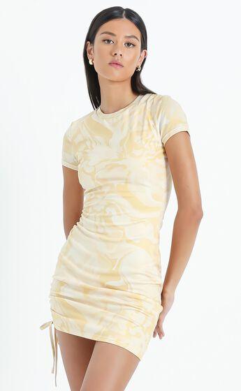 Braith Dress in Yellow Marble