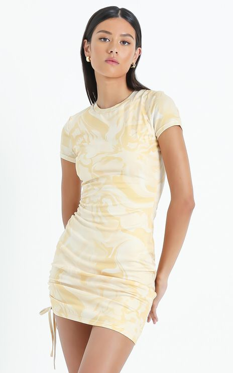 Braith Dress in Yellow Marble