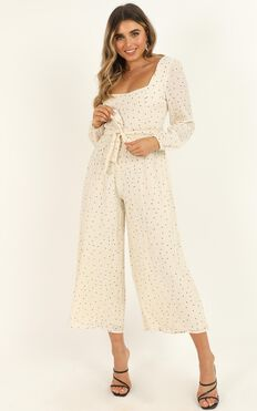 Big Adventures Jumpsuit In Ivory Spot