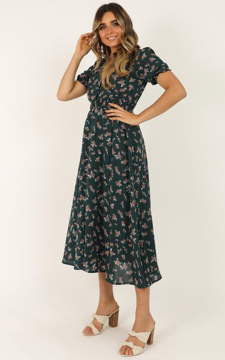 What Do You Want Dress In Emerald Floral