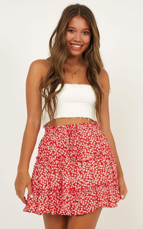 Ready For New Skirt In Red Floral