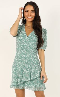 Chill Zone Dress In Sage Floral