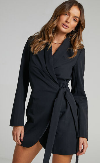 Rosia Wrap Style Blazer Dress in Black
