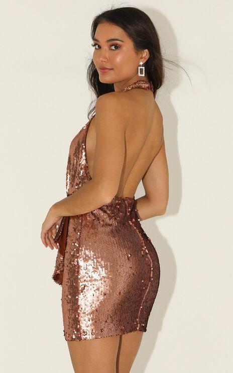 What It Feels Like Dress In Gold Sequin