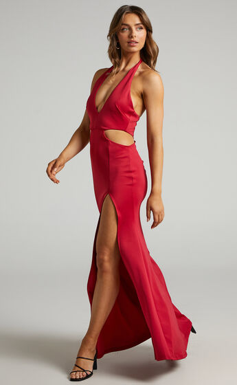 Avery Cut Out Detail Dress in Red