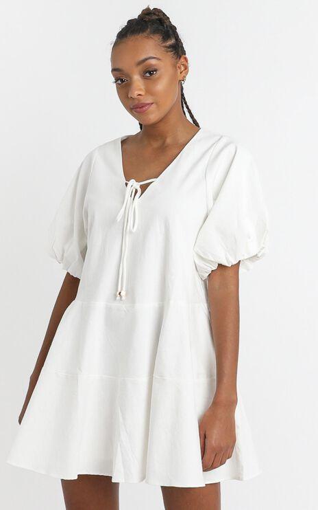 Krizza Mini Dress in White Linen Look