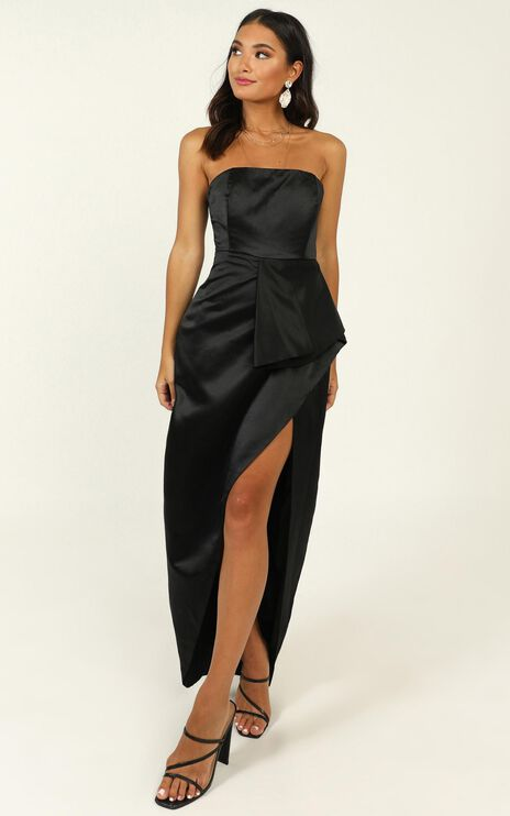 When I Was Falling In Love Dress In Black Satin