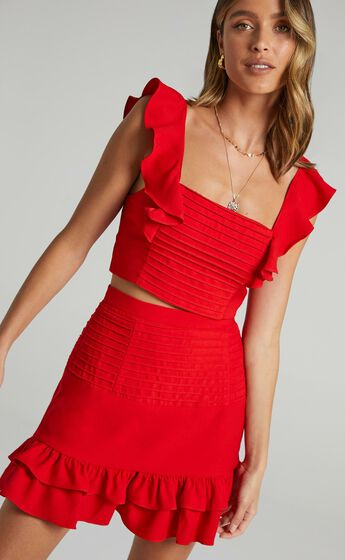 Make Me Stay Two Piece Set in Red