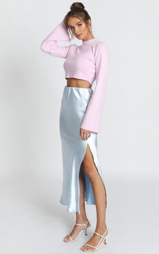 Marleigh Satin Midi Skirt In Dusty Blue