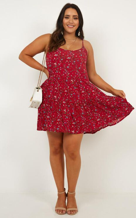 Show Me Passions Dress In Red Floral