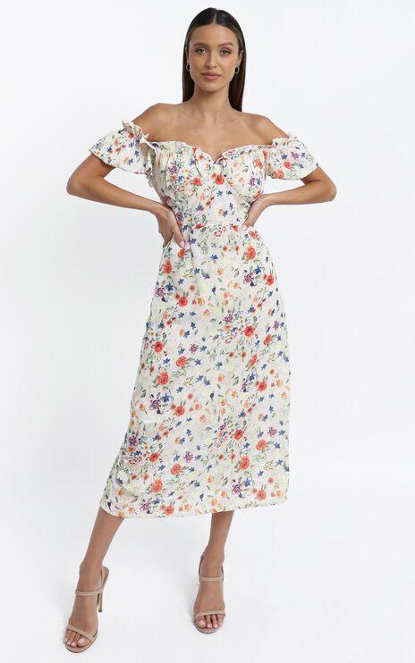 Rosie Midi Dress in Peach Floral