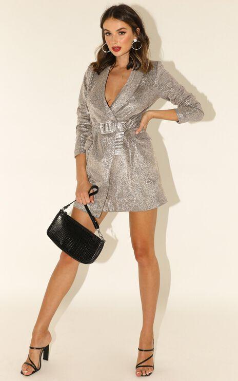 Make It Here Blazer Dress In Silver