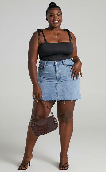 Just Like Smoke High Rise Mini Denim Skirt in Mid Wash