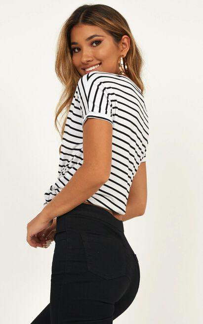 Back To Basics top in white stripe - 12 (L), Multi, hi-res image number null