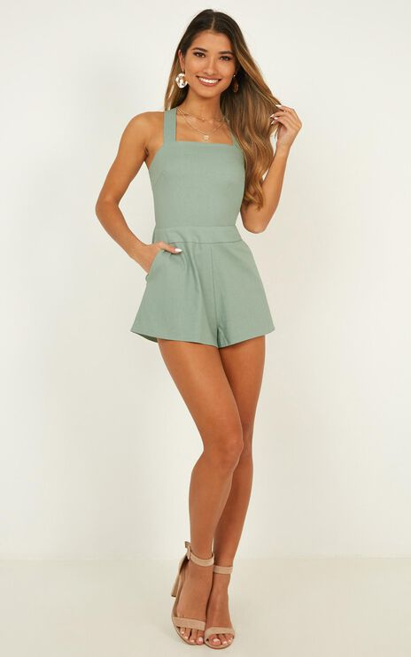 Kings Court Playsuit In Sage Linen Look