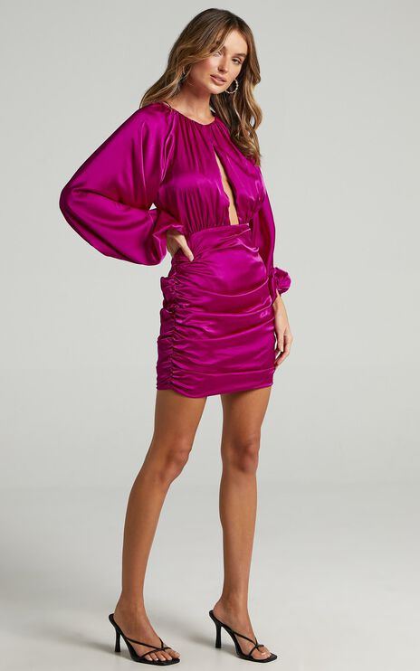 Ata Dress in Mulberry Satin