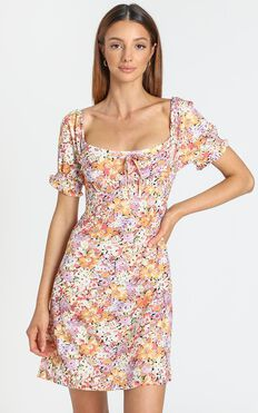Wheel Of Fortune Dress in Pink Floral