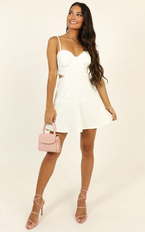 Tell Me How To Love Dress In White Linen Look