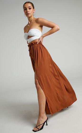 Jakie Maxi Pleated Skirt in Rust