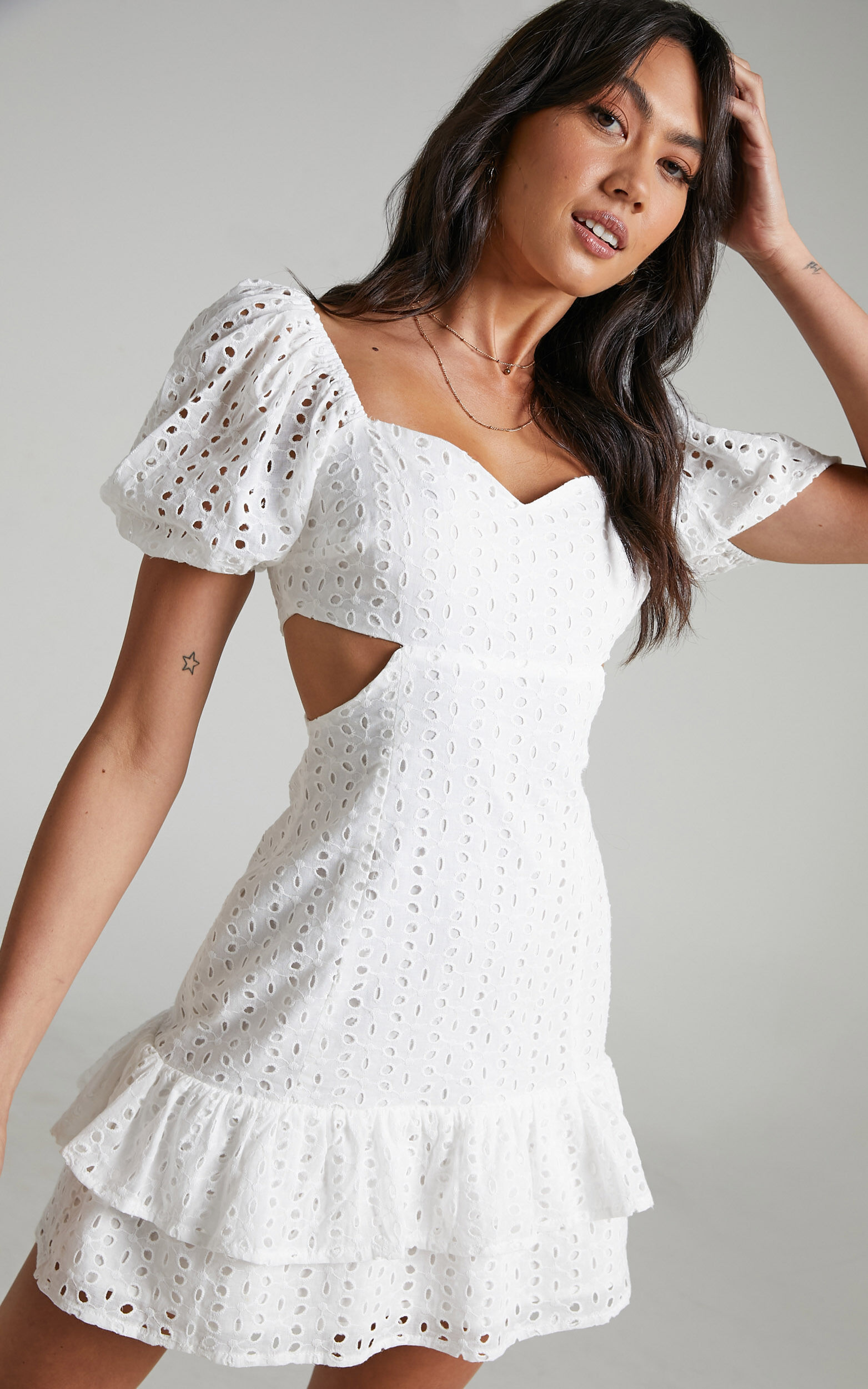 Levieth Mini Embroidery Dress in White - 04, WHT1, super-hi-res image number null
