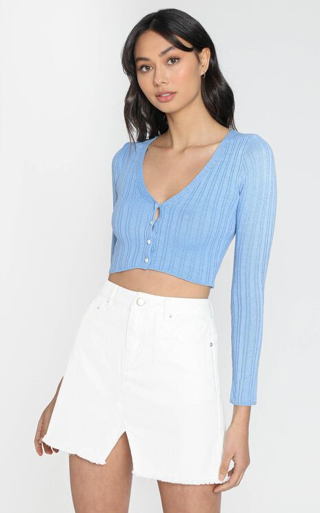 Notch Mini Skirt in White Denim