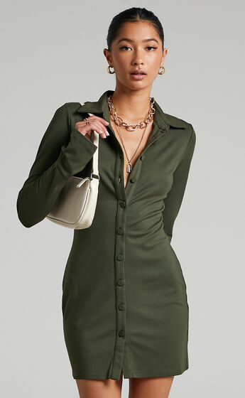 Kendra Long Sleeve Collared Button Down Shirt Dress in Khaki