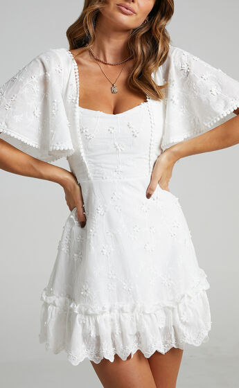 Fancy A Spritz Square Neck Mini Dress in White Embroidery