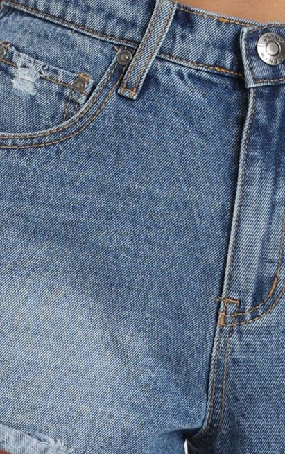 Found The Light Denim Shorts In Mid Wash - 4 (XXS), Blue, hi-res image number null