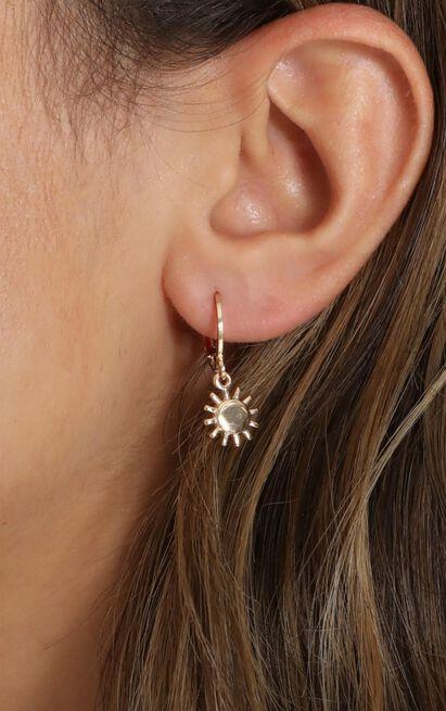 Sun Charm Hoop Earrings In Gold, , hi-res image number null