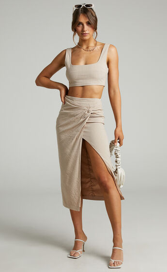 Avery Crop top and Twist Midi skirt Two Piece Set in Beige Stripe